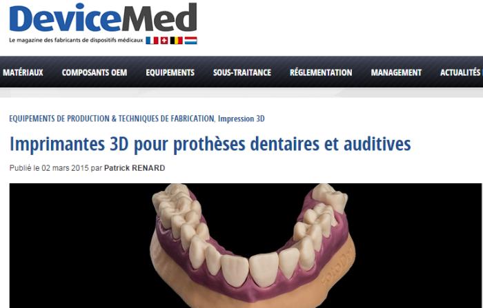 Imprimante 3 pour prothèses dentaires et auditives